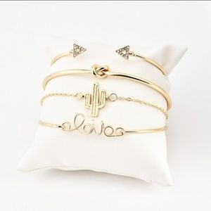 Bracelets Set of 4 Gold Love Cactus